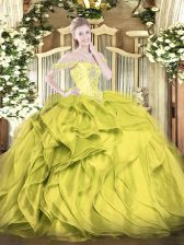Spectacular Olive Green Lace Up Off The Shoulder Beading and Ruffles Quince Ball Gowns Organza Sleeveless