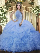 Fancy Blue Sleeveless Floor Length Beading and Ruffles and Pick Ups Lace Up 15th Birthday Dress