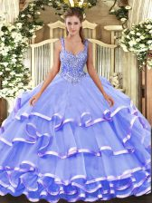 Cute Lavender Straps Neckline Beading and Ruffled Layers Sweet 16 Dresses Sleeveless Lace Up