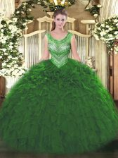 Scoop Sleeveless Lace Up Quinceanera Gown Green Organza