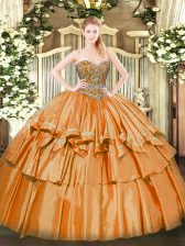Exquisite Orange Ball Gowns Beading and Ruffled Layers Vestidos de Quinceanera Lace Up Organza Sleeveless Floor Length