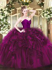 Sweetheart Sleeveless Ball Gown Prom Dress Floor Length Ruffles Fuchsia Organza