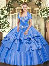 Exceptional Floor Length Lace Up Quinceanera Dress Baby Blue for Military Ball and Sweet 16 and Quinceanera with Beading and Ruffled Layers