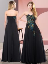 Chiffon Sweetheart Sleeveless Lace Up Embroidery Prom Party Dress in Black