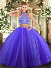 Suitable Sleeveless Floor Length Beading Criss Cross Ball Gown Prom Dress with Purple