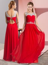 Hot Sale Red Sleeveless Chiffon Clasp Handle Homecoming Dress for Prom and Party
