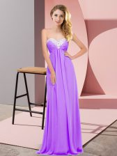 Trendy Lavender Lace Up Sweetheart Ruching Prom Dresses Chiffon Sleeveless