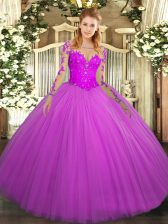 Fitting Ball Gowns Quinceanera Gowns Fuchsia Scoop Tulle Long Sleeves Floor Length Lace Up