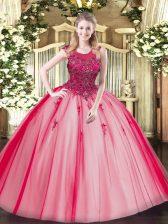 Floor Length Red Quinceanera Gown Scoop Sleeveless Zipper
