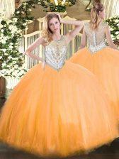 Custom Made Floor Length Ball Gowns Sleeveless Orange Red Quinceanera Dress Zipper
