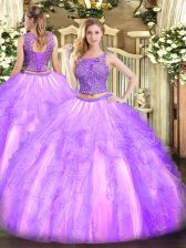 Edgy Lavender Sleeveless Floor Length Beading and Ruffles Lace Up 15 Quinceanera Dress