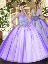 Sleeveless Floor Length Beading and Appliques Zipper Sweet 16 Dress with Lavender