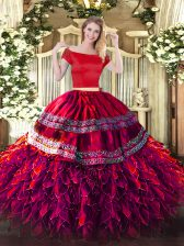 Romantic Fuchsia Short Sleeves Floor Length Embroidery and Ruffles Zipper Quince Ball Gowns