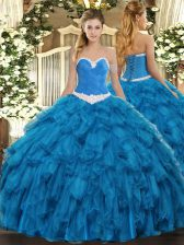 Admirable Organza Sleeveless Floor Length Ball Gown Prom Dress and Appliques and Ruffles