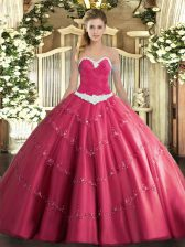 Clearance Hot Pink Sleeveless Floor Length Appliques Lace Up Sweet 16 Quinceanera Dress