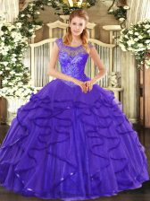 Pretty Floor Length Ball Gowns Sleeveless Blue Sweet 16 Dresses Lace Up