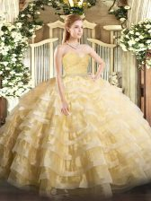 Sweetheart Sleeveless Zipper Vestidos de Quinceanera Gold Tulle