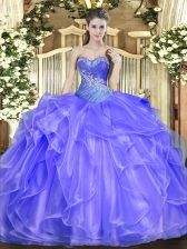 Custom Designed Sweetheart Sleeveless Organza Ball Gown Prom Dress Beading and Ruffles Lace Up