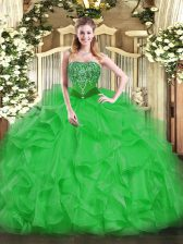 Affordable Strapless Sleeveless Lace Up Quinceanera Gowns Green Organza