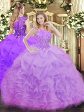 Fantastic Lavender Sleeveless Floor Length Beading and Ruffles and Pick Ups Zipper Sweet 16 Dress