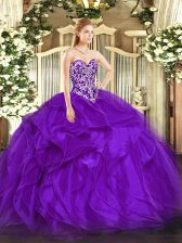 Purple Sweetheart Lace Up Beading and Ruffles Sweet 16 Dresses Sleeveless