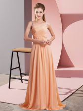 Unique Orange Sleeveless Chiffon Sweep Train Criss Cross Prom Evening Gown for Prom and Party