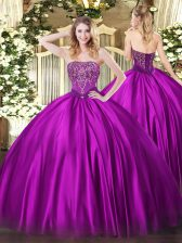 Shining Floor Length Ball Gowns Sleeveless Fuchsia Sweet 16 Dresses Lace Up