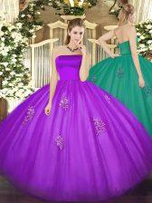 Unique Eggplant Purple Sleeveless Appliques Floor Length Sweet 16 Quinceanera Dress