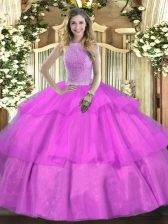 Trendy Floor Length Ball Gowns Sleeveless Lilac Vestidos de Quinceanera Lace Up
