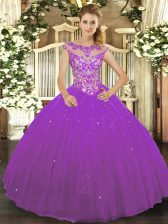 Eggplant Purple Tulle Lace Up Scoop Sleeveless Floor Length 15 Quinceanera Dress Beading and Appliques