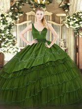 Best Beading and Embroidery and Ruffled Layers Quinceanera Dresses Dark Green Zipper Sleeveless Floor Length