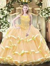 Pretty Gold Ball Gowns Scoop Sleeveless Organza Floor Length Zipper Beading and Ruffled Layers Vestidos de Quinceanera