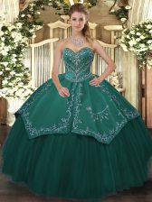 Teal Sleeveless Beading Floor Length Sweet 16 Dresses