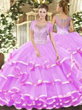 Fancy Lilac Scoop Neckline Beading and Ruffled Layers Quinceanera Gowns Sleeveless Clasp Handle