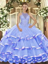 Glamorous Blue Sweet 16 Dresses Military Ball and Sweet 16 and Quinceanera with Beading and Ruffled Layers Halter Top Sleeveless Lace Up