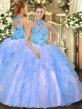 Fantastic Halter Top Sleeveless Ball Gown Prom Dress Floor Length Embroidery and Ruffles Baby Blue Organza