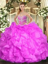 Fuchsia Organza Lace Up Sweetheart Sleeveless Floor Length Quince Ball Gowns Beading and Ruffles