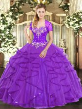 Attractive Sleeveless Lace Up Floor Length Beading and Ruffles Quinceanera Dress