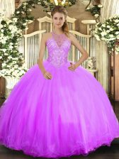 Lilac Halter Top Lace Up Beading Sweet 16 Dress Sleeveless