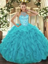 Amazing Aqua Blue Ball Gown Prom Dress Military Ball and Sweet 16 and Quinceanera with Beading and Embroidery and Ruffles Halter Top Sleeveless Lace Up