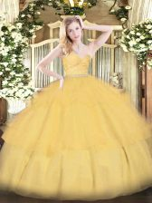 Chic Floor Length Gold Quinceanera Dresses Tulle Sleeveless Beading and Lace and Ruffled Layers