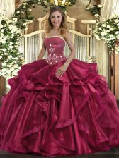 Modern Sleeveless Floor Length Beading and Ruffles Lace Up 15th Birthday Dress with Red
