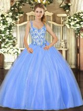 Great Baby Blue Lace Up 15 Quinceanera Dress Beading and Appliques Sleeveless Floor Length