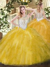 Designer Gold Tulle Zipper Quince Ball Gowns Sleeveless Floor Length Beading and Ruffles