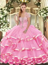Cheap Rose Pink Sleeveless Appliques and Ruffled Layers Floor Length Sweet 16 Dress