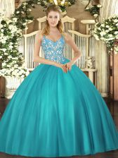 Teal Sleeveless Tulle Lace Up Quinceanera Gown for Sweet 16 and Quinceanera