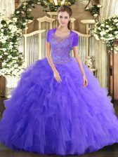 Designer Ball Gowns Quinceanera Dress Lavender Scoop Tulle Sleeveless Floor Length Clasp Handle