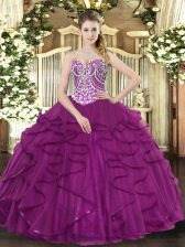 Fuchsia Lace Up Ball Gown Prom Dress Beading and Ruffles Sleeveless Floor Length