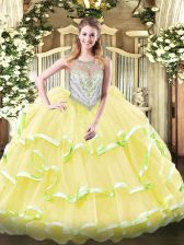 Sleeveless Organza Floor Length Zipper Sweet 16 Dress in Yellow Green and Light Yellow with Beading and Ruffled Layers