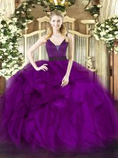 Romantic Purple Ball Gowns Straps Sleeveless Organza Floor Length Zipper Beading and Ruffles Vestidos de Quinceanera